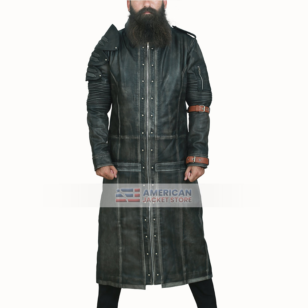 Gaming Battlegrounds Costume Distressed Black Trench Coat